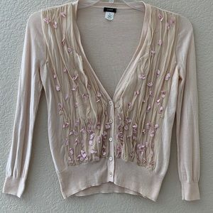 J Crew Cardigan Sweater pearls flowers ivory XS